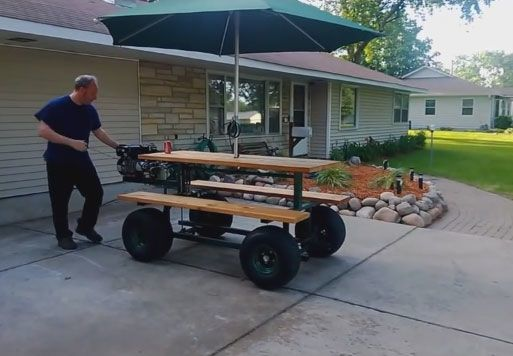 Gas powered motorized picnic table Motorized table