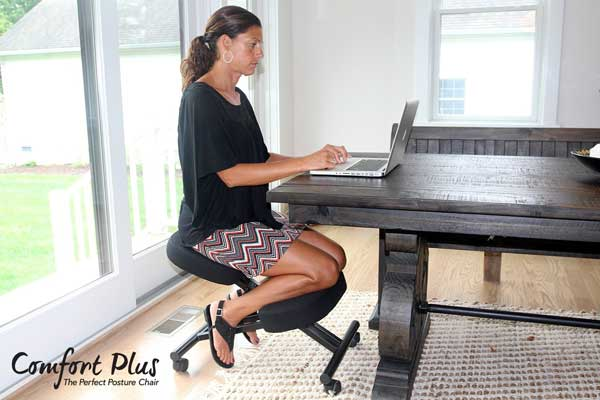 The Comfort Plus Perfect Posture Chair is an ergonomic kneeling chair  designed to help you avoid neck and lower back pain. - Comfort Plus Perfect Posture Chair For Back Pain Sufferers